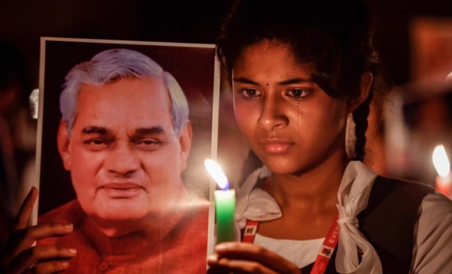 Students participate in a candlelight vigil to pay tribute to former prime minister Atal Bihari Vajpayee in Chennai, on Thursday, Aug. 16, 2018. (PTI Photo)