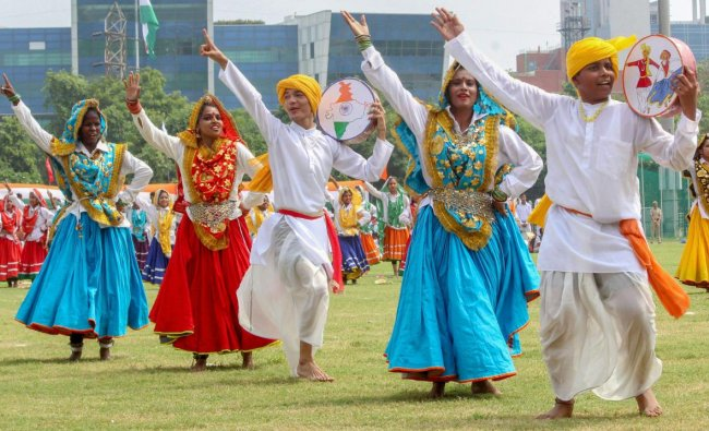 Students perform a folk dance to commemorate the 72nd Independence Day celebrations, in Gurugram on Wednesday, Aug 15, 2018. (PTI Photo)