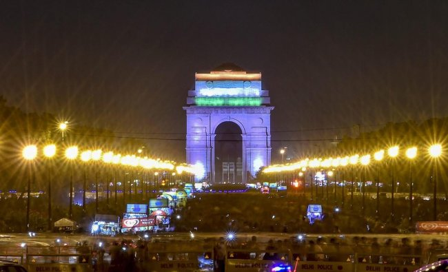 A view of illuminated India Gate in tricolour to commemorate the 72nd Independence Day, in New Delhi on on Wednesday, Aug 15, 2018. (PTI Photo)