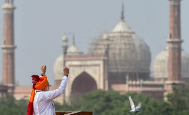 Prime Minister Narendra Modi addresses the nation from the ramparts of the historic Red Fort on the occasion of 72nd Independence Day, in New Delhi on Wednesday, August 15, 2018. (PTI Photo)