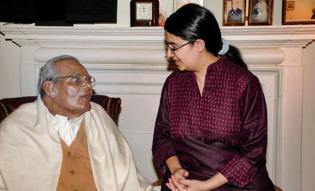 A B Vajpayee is seen with his grand-daughter on his 85th birthday, in New Delhi. Vajpayee, 93, passed away on Thursday, Aug 16, 2018, at the All India Institute of Medical Sciences, New Delhi after a prolonged illness. (PTI file photo)