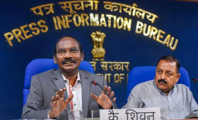 Minister of State for Atomic Energy and Space Jitendra Singh and Indian Space Research Organisation (ISRO) Chairman K. Sivan at a press conference on the issues related to Department of Space, in New Delhi on Tuesday, August 28, 2018.