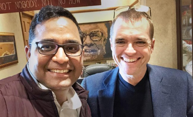 Berkshire Hathaway Investment Manager Todd Combs and Paytm founder and CEO Vijay Shekhar Sharma. Billionaire Warren Buffett\'s Berkshire Hathaway has picked up stake in Paytm and will get a position on the Board, the largest digital payments company in India said on Tuesday, Aug 28, 2018. PTI