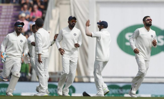 India\'s Virat Kohli, right, celebrates after he catches England\'s Alastair Cook out, off the bowling of India\'s Hardik Pandya during play on the first day of the 4th cricket test match between England and India at the Ageas Bowl in Southampton, England, Thursday, Aug. 30, 2018. England and India are playing a 5 test series. AP/PTI