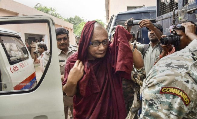 Bangladeshi Buddhist monk Bhante Sangh Priya, accused of sexually abusing a minor girl, being produced in a court in Gaya on Thyrsday, Aug 2018. PTI