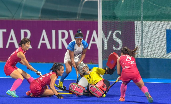 Indian goalkeeper Savita fails to save a goal during the women\'s hockey final match against Japan at the 18th Asian Games 2018, in Jakarta, Indonesia on Friday, Aug 31, 2018. (PTI Photo/Vijay Verma)