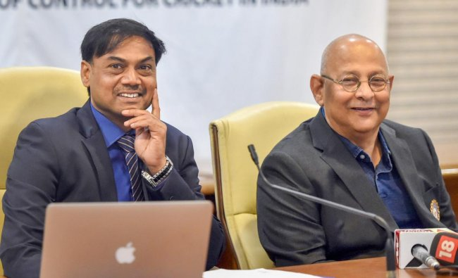 BCCI Chief Selector MSK Prasad (L) and BCCI acting secretary Amitabh Chaudhary at a press conference following the BCCI selection Committee meeting for Asia Cup, in Mumbai on Saturday, Sept 1, 2018. (PTI Photo/Mitesh Bhuvad)