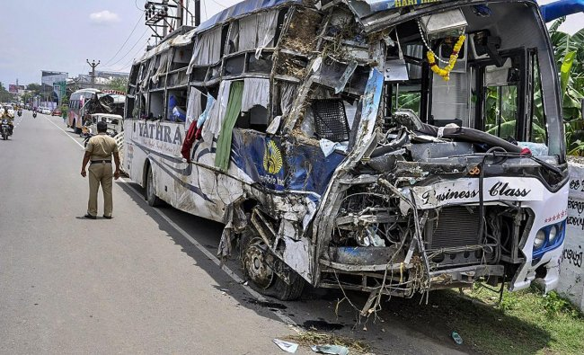 The remains of a bus which collided after a road accident, at Salem in Madurai on Saturday, Sept 1, 2018. (PTI Photo)