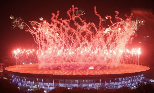 Closing ceremony of 2018 Asian Games at GBK Main Stadium, Jakarta, Indonesia. AP/PTI