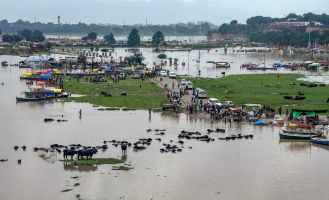 A view of the submerged area as the water level of river Ganga rises following monsoon rains, in Allahabad on Monday, Sept 3, 2018. (PTI Photo)