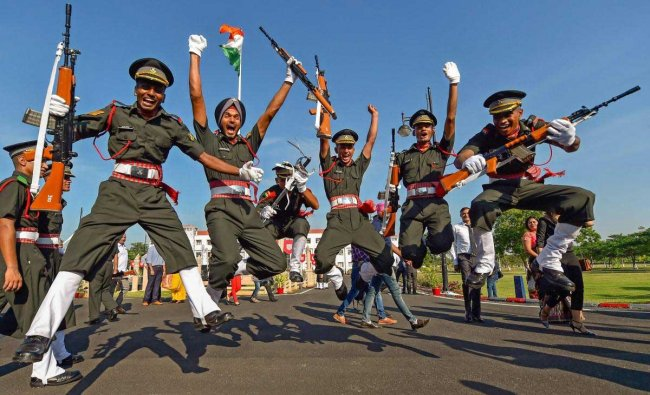 Cadets celebrate after a passing-out parade at Officers Training Academy (OTA) in Chennai, Saturday, Sept 8, 2018. (PTI Photo)