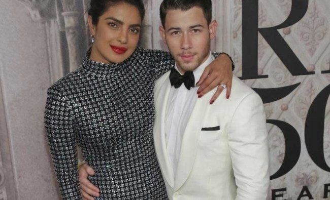Priyanka Chopra, left, and Nick Jonas attend the Ralph Lauren 50th Anniversary Event held at Bethesda Terrace in Central Park during New York Fashion Week on Friday, Sept. 7, 2018, in New York. AP/PTI