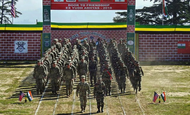 Indo-US combined training exercise commenced at Chaubattia, Uttarakhand, Sunday, Sept 16, 2018.( Twitter Photo via PTI)