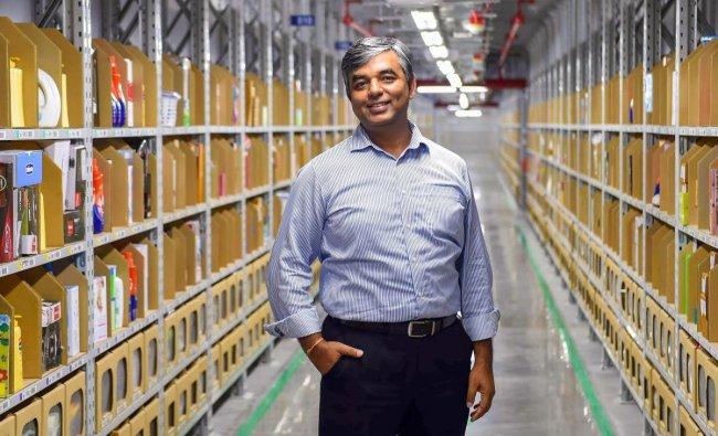Amazon India Vice-President of Customer Fulfilment Akhil Saxena poses at Amazon\'s largest Fulfilment Centre in Karnataka, that was launched near Attibele on the Karnataka-Tamil Nadu border, Tuesday, Sept 18, 2018. (PTI Photo)