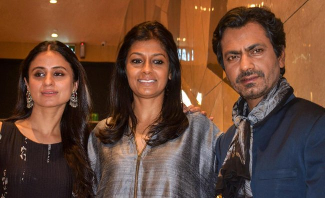 Writer-Director Nandita Das flanked by Bollywood actors Rasika Dugal (L) and Nawazuddin Siddiqui during a promotion for their upcoming movie \'Manto\', in New Delhi, Wednesday, Sept 19, 2018. (PTI Photo)