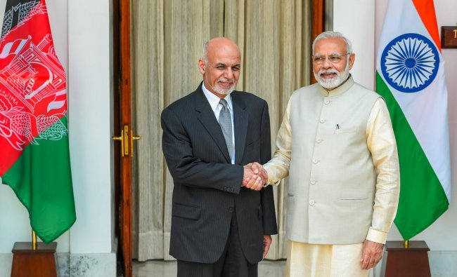 Prime Minister Narendra Modi (R) and Afghanistan President Ashraf Ghani ahead of a meeting at Hyderabad House, in New Delhi, Wednesday, Sep 19, 2018. (PTI Photo)