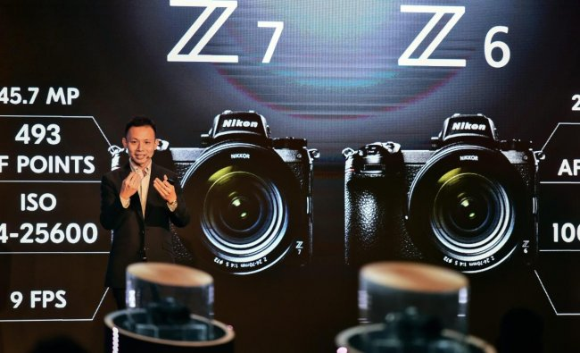 Nikon's International Customer Support Division General Manager William Lee speaks during launch of Nikon\'s mirrorless cameras Z6 and Z7, in New Delhi, Wednesday, Sept. 19, 2018. (PTI Photo)