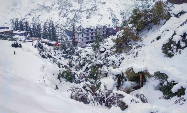 Keylong: A view of a snow-covered hills, at Keylong in Lahaul-Spiti district, Monday, September 24, 2018. The tribal district of Lahaul and Spiti experienced heavy rain and snowfall. (PTI Photo)