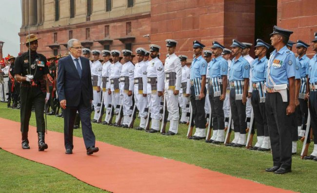 New Delhi: Morocco\'s Minister of Defence Abdellatif Loudiyi inspects a guard of honour, at South Block, New Delhi, Tuesday, September 25, 2018. (DEF Photo via PTI)