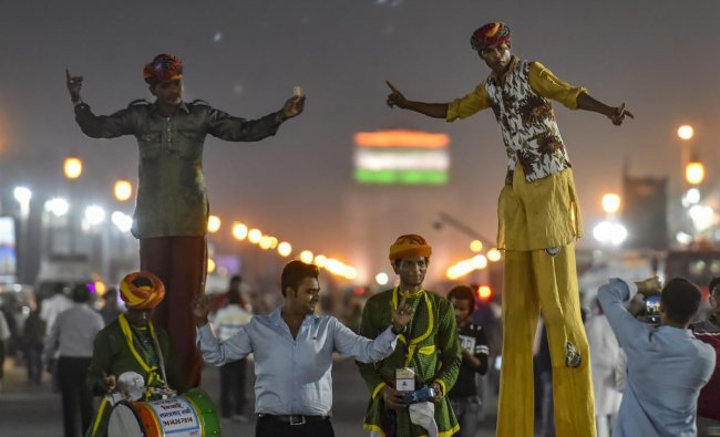 Artist perform on the last day of the \'Paryatan Parv\' in New Delhi. (PTI Photo)