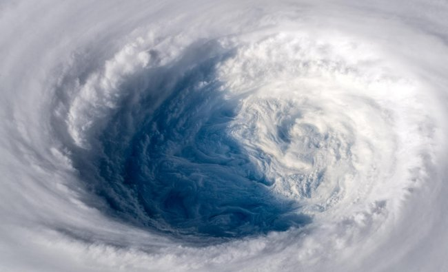 Super typhoon Trami is seen from the International Space Station as it moves in the direction of Japan, September 25, 2018 in this image obtained from social media on September 26, 2018. ESA/NASA-A.Gerst/via REUTERS