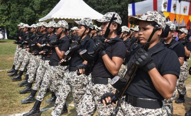 Assam police women commandos take part in Assam Police Day 2018 at 4th APBN Head Quater, Kahilipara, in Guwahati. (PTI Photo)