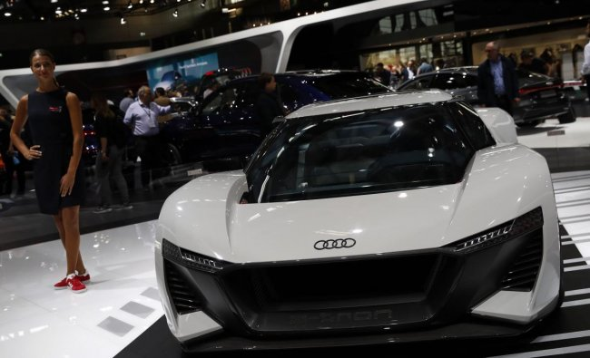 An Audi e-tron 55 PB 18 is on display at the Auto show in Paris, France, Wednesday, Oct. 3, 2018, 2018. (AP/PTI Photo)