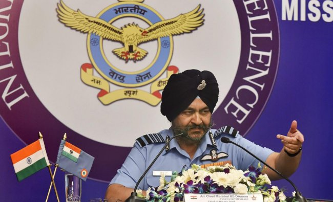 Air Chief Marshal Birender Singh Dhanoa addresses the media ahead of Air Force Day, in New Delhi, Wednesday, Oct 3, 2018. (PTI Photo)