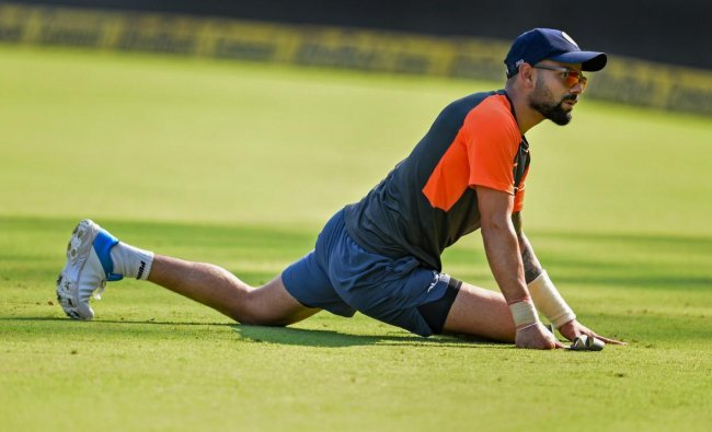 Indian cricket team captain Virat Kohli during a practice session ahead of their first test match against West Indies, in Rajkot, Wednesday, Oct 3, 2018. (PTI Photo)