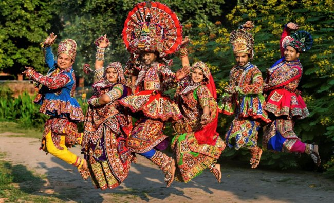 Dancers dressed in traditional attire during the rehearsals for the \'Garba\' dance ahead of nine-day Navratri festival, in Ahmedabad. (PTI Photo)