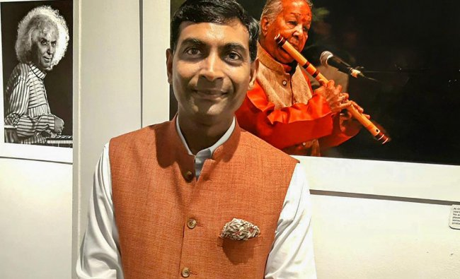 Diplomat-cum-photographer Prashant Agrawal at his photography exhibition paying tribute to Indian classical music artistes, in New Delhi. PTI