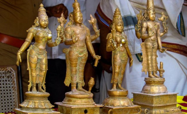 Panchaloha idols recovered after a burglary from a temple near Sozhavandhan, in Madurai. PTI