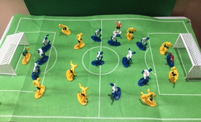 Miniature model of the football game. From Vimala Rao\'s collection.