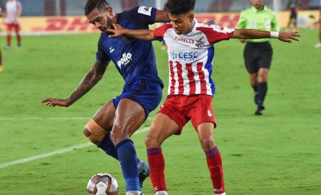 ATK player Ricky Lallawmawma vies for the ball with Inigo Calderon of Chennaiyin FC during their ISL match in Kolkata, Friday evening, October 26, 2018. (PTI Photo/Swapan Mahapatra)