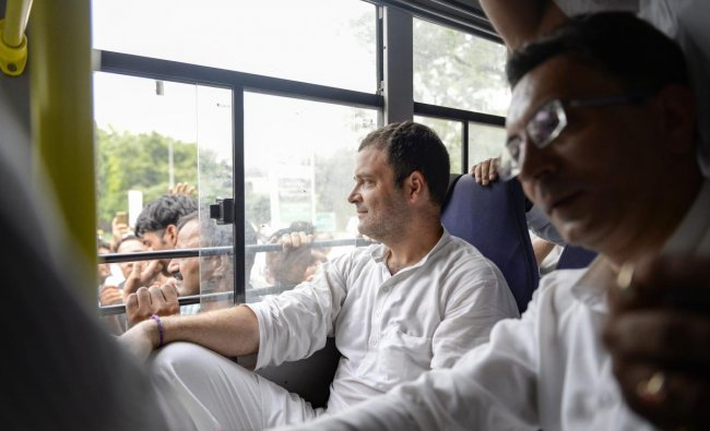Congress President Rahul Gandhi and other party leaders in a bus after they were detained by the police during a protest against the Centre\'s move to send CBI Director Alok Verma on leave, outside the CBI headquarters, in New Delhi, Friday, Oct 26, 2018. (PTI Photo)
