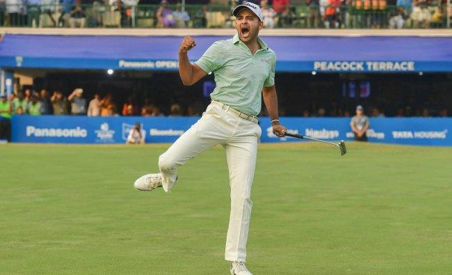 Golf player Khalin Joshi reacts after winning the final round of Panasonic Open India 2018, at Delhi Golf Club in New Delhi, Sunday, oct 28, 2018. (PTI Photo)