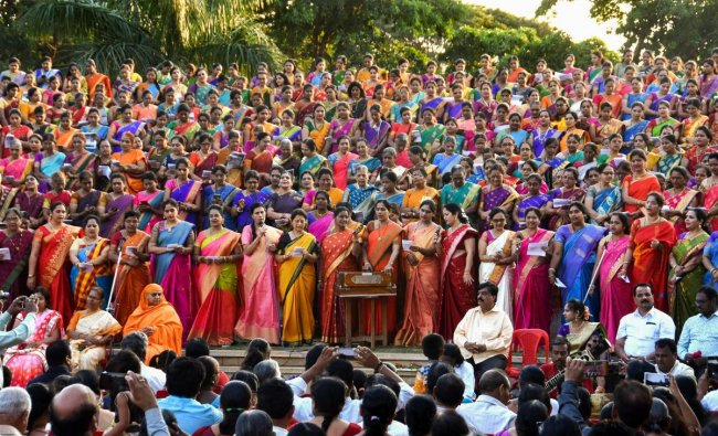Women perform during a function organised by Dr Gangubai Hanagal Music Foundation, in Hubballi, Sunday, Oct 28, 2018. (PTI Photo)