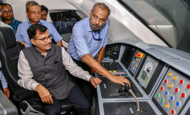 Railway Board Chairman Ashwani Lohani sits in the driver\'s cabin after flagging off country\'s first engine-less train \'Train 18\', developed by the Integral Coach Factory (ICF), in Chennai, Monday, Oct 29, 2018. (PTI Photo)