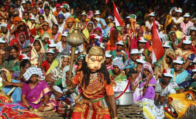 A tribal is dressed as Lord Hanuman as thousands of tribals from four district of Maharashtra - Thane, Palghar, Nashik and Raigad, take part in a protest march demanding better facilities and amenities for them in their villages, in Thane, Tuesday, Oct 30, 2018. (PTI Phtoo)