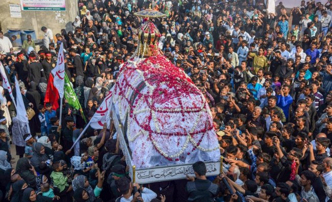 Shia Muslims take part in \'72 Taboot\' procession during Muharram, in Allahabad, Friday, Nov 02, 2018. (PTI Photo)