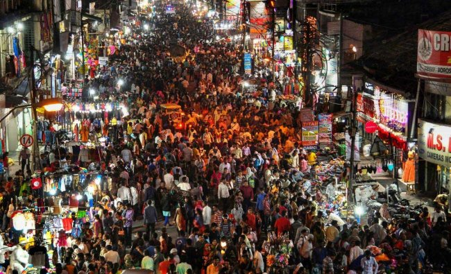 A bird eye view of a crowded market as people shop for the festival of Diwali in Nagpur, Maharashtra, Sunday, Nov 4, 2018. (PTI Photo)