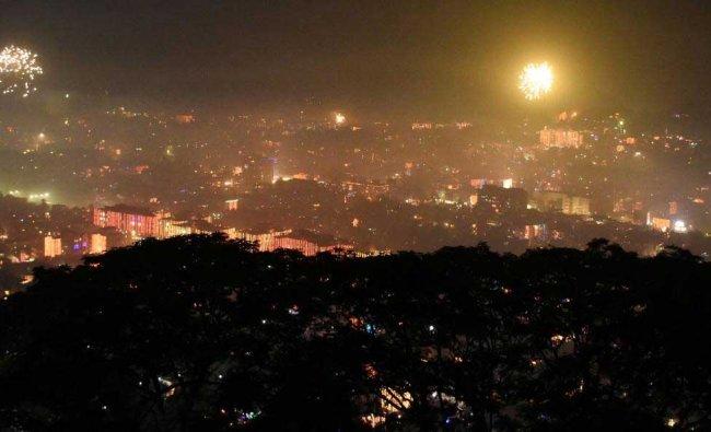 Fireworks light the sky during \'Diwali\' celebrations, in Guwahati, Wednesday, Nov 07, 2018. (PTI Photo)