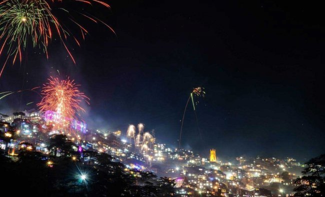 Fireworks light the sky during \'Diwali\' celebrations at Hills Queen, in Shimla, Wednesday, Nov 07, 2018. (PTI Photo)