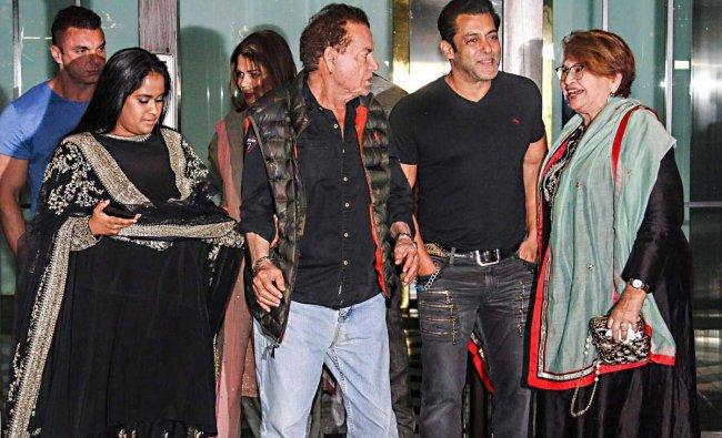 Bollywood actor Salman Khan, film actor, producer and screenwriter Salim Khan and Helen at the Diwali party of Arpita Khan (L) in Mumbai, Wednesday, November 7, 2018. (PTI Photo)