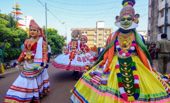 Artists perform during the inauguration ceremony of a three-day \'Alvas Nudisiri-2018\', the 15th Kannada Nadu-Nudi-Culture conference, at Moodabidri in Dakshina district. PTI photo