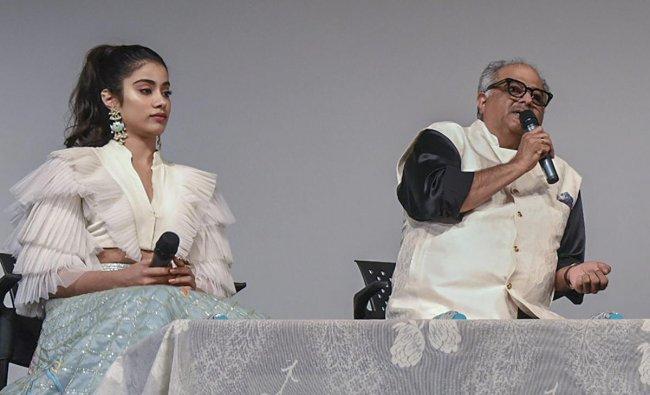 Bollywood Producer Boney Kapoor and actor Janhvi Kapoor during the 49th International Film Festival of India (IFFI-2018), in Panaji. PTI photo