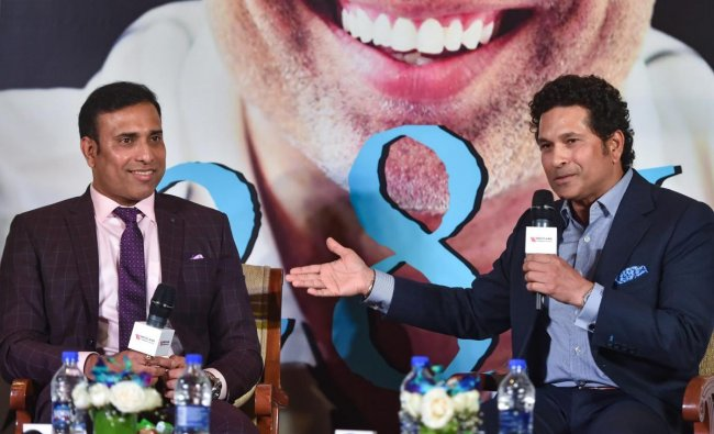 Former cricketers VVS Laxman and Sachin Tendulkar at the launch of Laxman's autobiography '281 and Beyond', in Mumbai. PTI photo