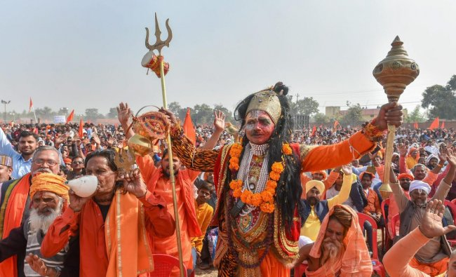 Ayodhya: People participate in `Dharam Sabha', being organised by the Vishwa Hindu Parishad to push for the construction of the Ram temple, in Ayodhya, Sunday, Nov. 25, 2018. (PTI Photo)