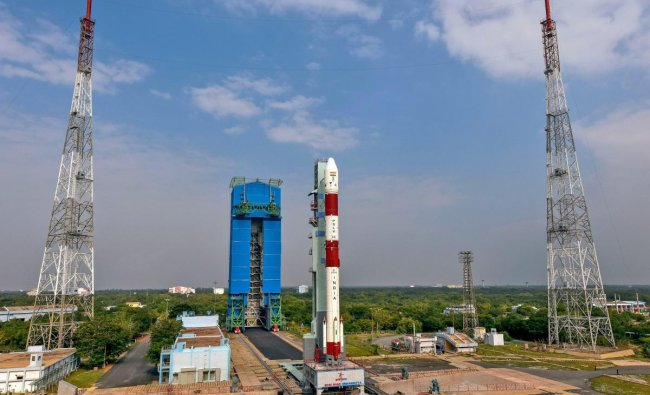 Sriharikota: Preparations underway for the launch of earth observation satellite Hyper Spectral Imaging Satellite (HysIS) equipped in Polar Satellite Launch Vehicle Core Alone Variant (PSLV-CA), at Sriharikota, Wednesday, Nov. 28, 2018. The mission will launch an observation satellite of Earth and 30 other small satellites from eight countries on November 29, 2018. (PTI Photo)