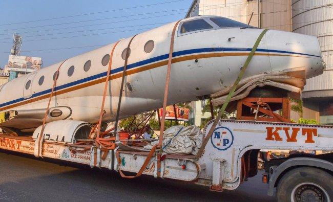 Guntur: A truck carries a scrapped airplane near Guntur, Andhra Pradesh, Tuesday, Nov 27, 2018. (PTI Photo)